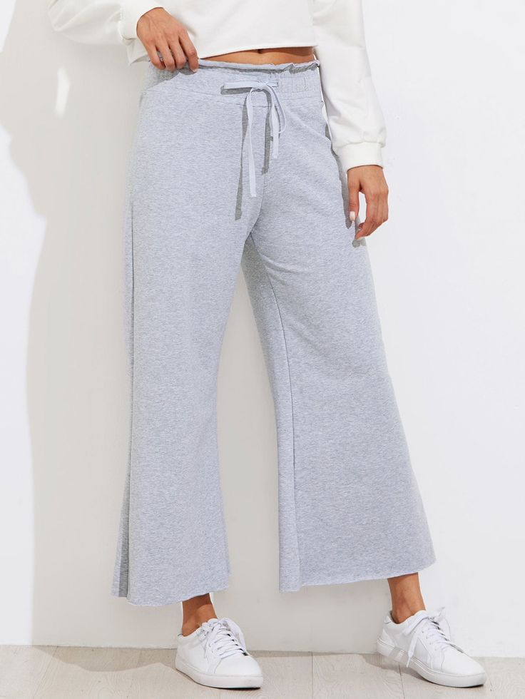 Pants by BORNTOWEAR. Drawstring Waist Wide Leg Sweatpants