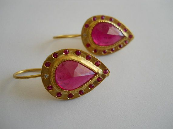 22K Gold Earrings set with Rubies and Diamonds by PamelaHarari £1,300