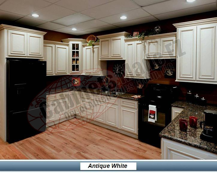 White glazed cabinets with black appliances kitchen for Black and brown kitchen cabinets
