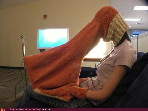 Knitted privacy hood