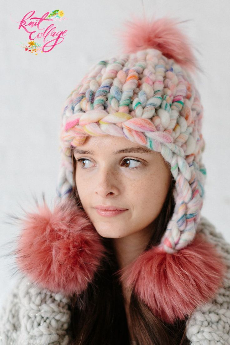 81290803c18 Looking for the perfect one skein hat pattern  The Pom Bomb Hat pattern by  Knit Collage is the perfect cozy wool hat for those cozy cold days!