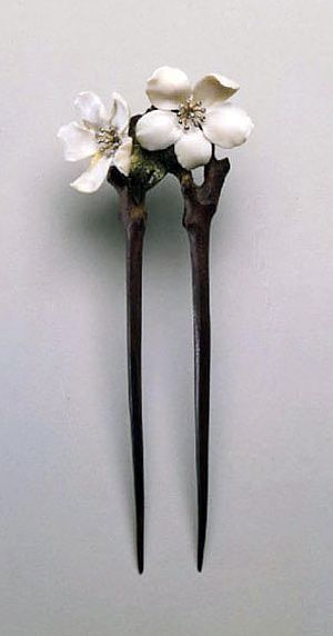"""Hairpin """"Flowers of apple"""" (Museum of Decorative Arts, Paris) by Lucien…"""