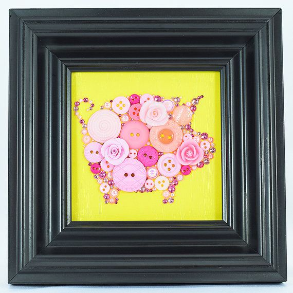 Framed Button Art Pink Piglet Wall Decor by PaintedWithButtons