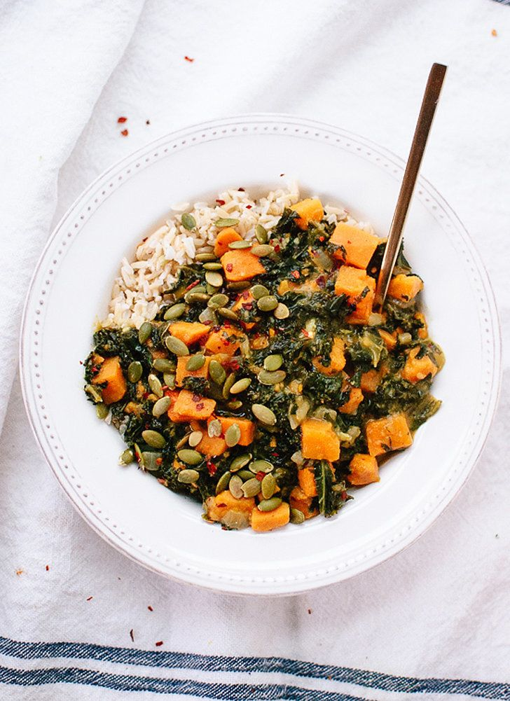"""Coconut Curried Kale and Sweet Potato —""""Hearty braised and curried kale with sweet potato makes a delicious wintertime meal! This healthy dish is vegan, dairy-free and gluten-free."""" via @cookieandkate"""