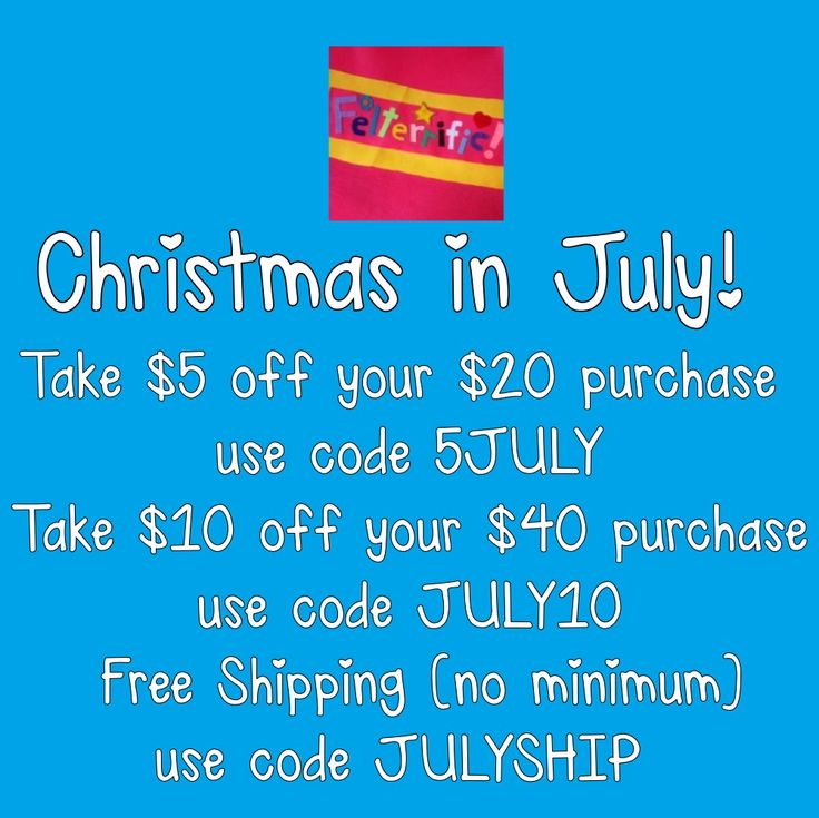 Felterrific's annual Christmas in July Sale! Coupon codes expire July 31, 2017. Get your advent calendars early! 🎄🎄🎄