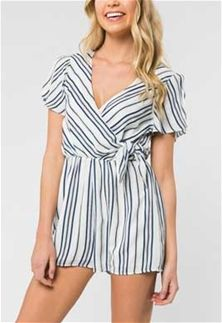 deba5531a75e Everly Clothing Side Tie Stripe Romper in Blue and White EP3435B-BLU ...