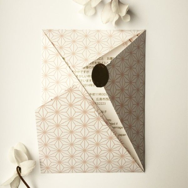 Inspiration from Japanese kumiko wood work, brush painting and cherry blossoms came together in these origami invitations. A dusky pink with accents of bronze, on elegant textured linen card.