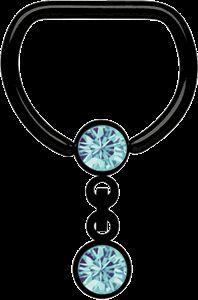 Piercing Schmuck Shop -  Brust Piercing D-Ring Stahl PVD schwarz + Kette in verschiedenen Farben