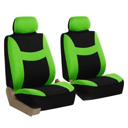 FH Group Light & Breezy Green and Black Auto Accessories Set, with Steering Wheel Cover and Seat Belt Pads, Airbag Compatible and Split Bench Full Set Seat Covers