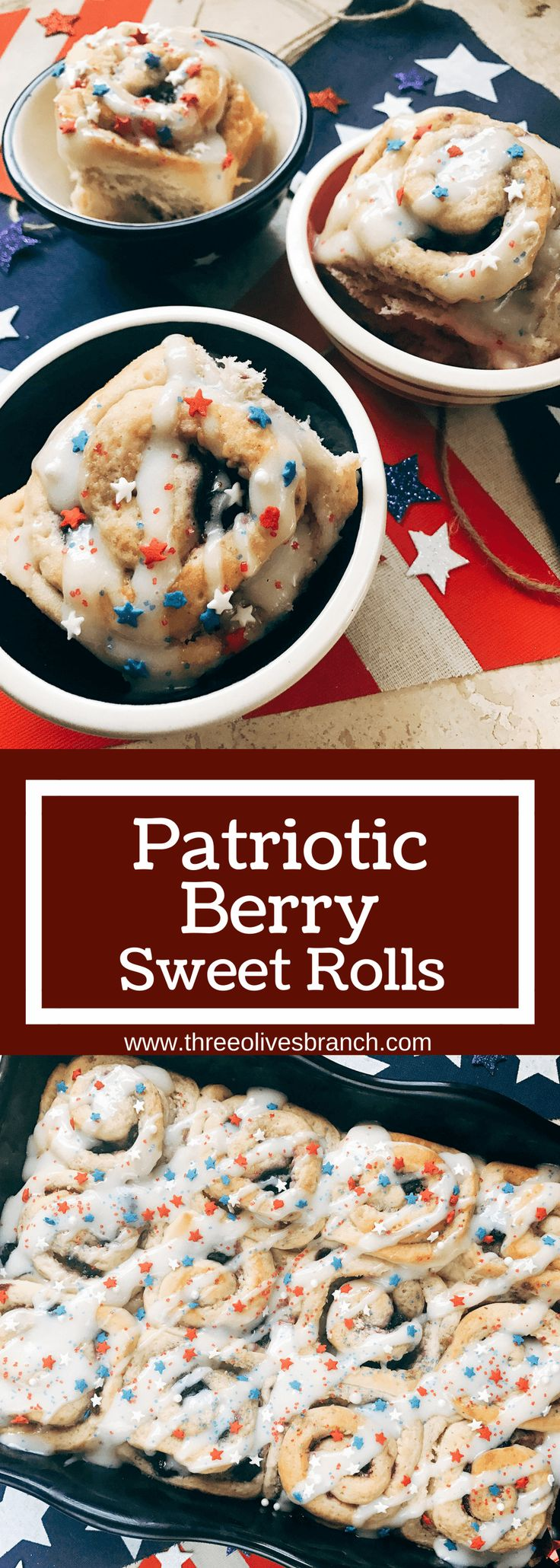 Red, white, and blue sweet rolls for a patriotic morning! A twist on cinnamon rolls, these are filled with cream cheese and mixed berries for a summer treat. Great for USA parties and BBQs like Labor Day, Memorial Day, and 4th of July. Make them in advance for a quick and easy breakfast or brunch to start the holiday. They even work as a dessert! Vegetarian and kid friendly. Patriotic Berry Sweet Rolls | Three Olives Branch | www.threeolivesbranch.om