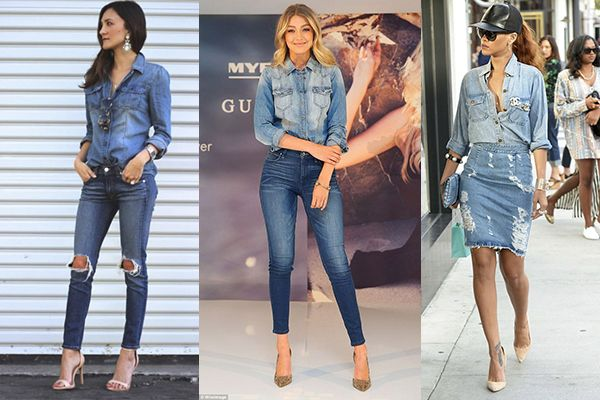 doble denim desgastado