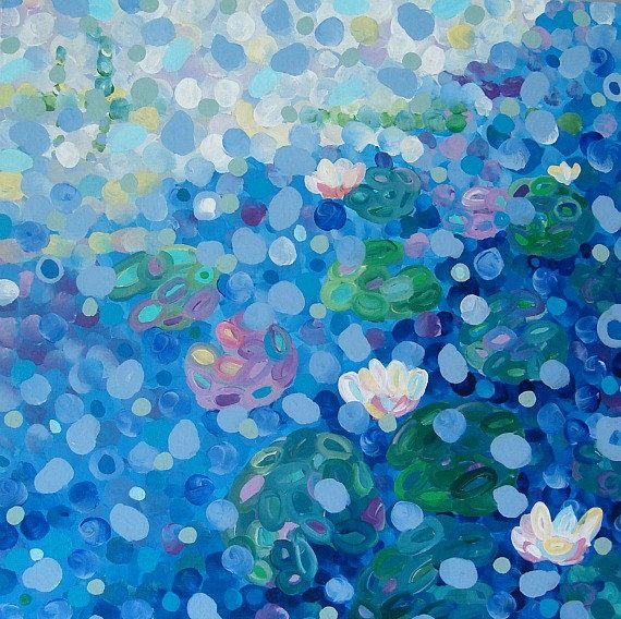 Abstract Lily Pond Painting Blue Impressionistic by TracyHallArt, $150.00