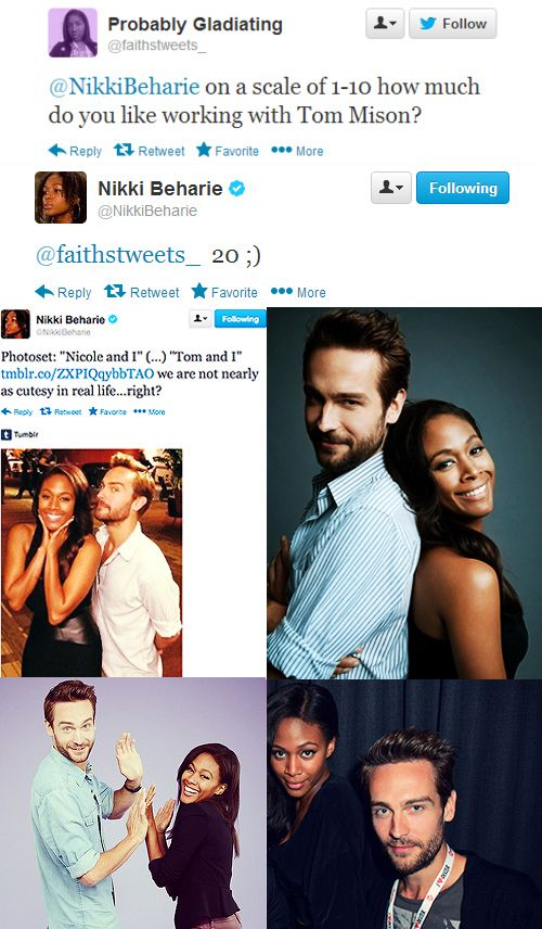 """When Tom Mison and Nicole Beharie act super cutesy.   20 Times The Cast Of """"Sleepy Hollow"""" Proved They Are Utterly Adorable"""
