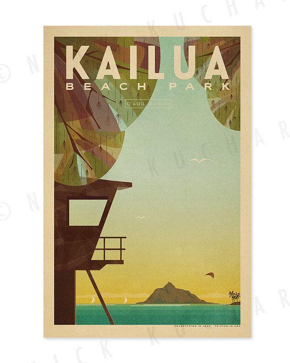 Kailua Beach Park  12x18 Retro Hawaii Print by EverythingIsJake