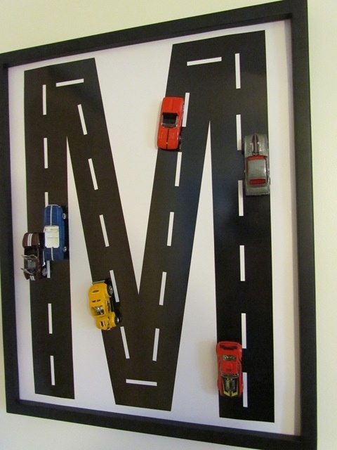 http://fashionpin1.blogspot.com - Car Mongram - Perfect for our boys' room!