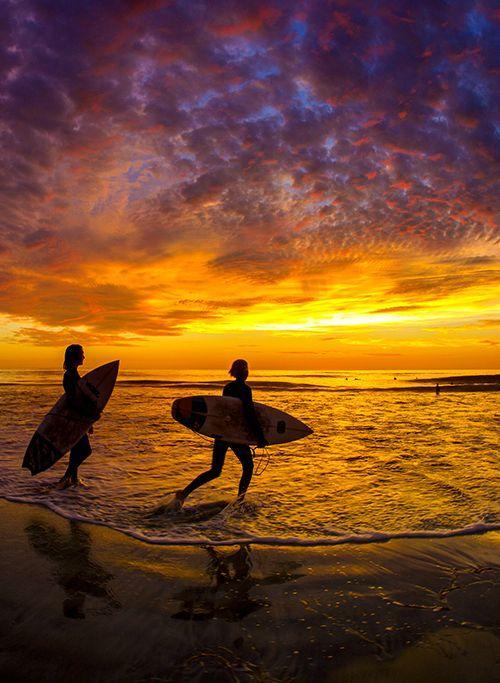 Sunset Surfing, Cardiff California
