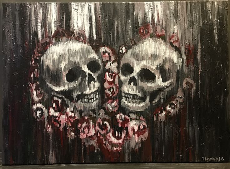 Heart shaped skulls #skulls #painting