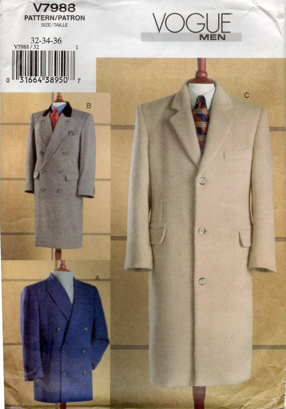 Vogue 40 Mens Single And Double Breasted Coat Pattern Jacket Impressive Mens Trench Coat Pattern