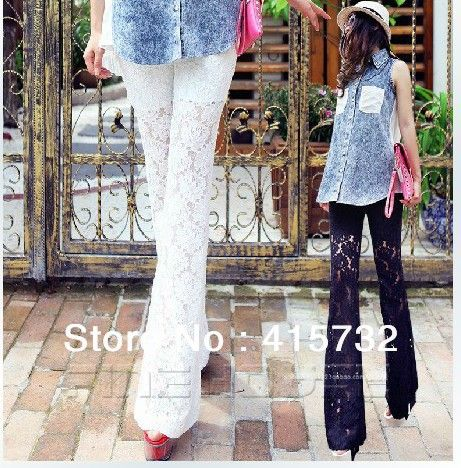 Free Shipping 2015 Plus Size XXXXXXL Women Long Pants Fashion Lace Casual Trousers Sexy Black And White Bell bottoms Customized-inPants & Capris from Women's Clothing & Accessories on Aliexpress.com | Alibaba Group
