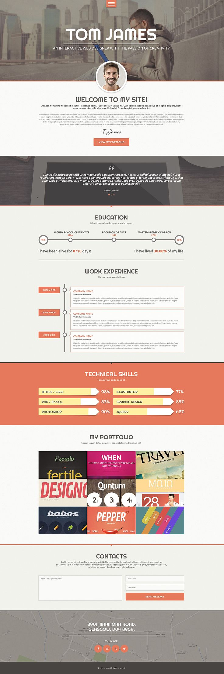 wordpress cv themes