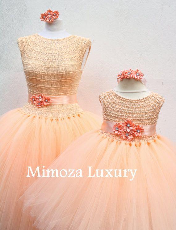 """Madre hija juego vestidos de adulto vestido, vestido de Dama de honor, vestido de mujer, vestido de novia, vestido de despedida de soltera, vestido de princesa de adultos [   """"Mother Daughter Matching Dresses Adult tutu dress by MimozaLuxury"""" ] #<br/> # #Princess #Tutu #Dresses,<br/> # #Adult #Tutu,<br/> # #Peach #Blush,<br/> # #Mother #Daughters,<br/> # #Crochet #Dresses,<br/> # #Girls #Dresses,<br/> # #Bridesmaid #Dress,<br/> # #Party #Dress,<br/> # #Safe<br/>"""