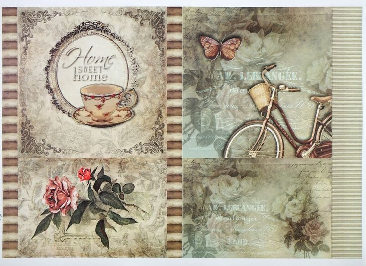 A/4 Classic Decoupage Paper Scrapbook Sheet Vintage Home Sweet Home