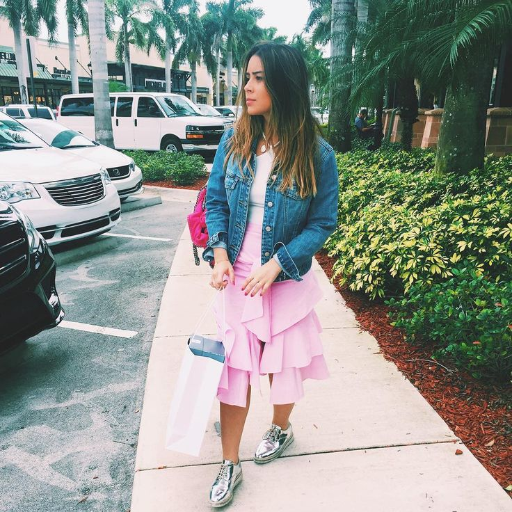 pink skirt, jeans, jeans jacket, metallic shoes, Miami