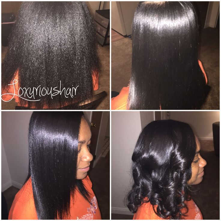 Silk press natural hair style
