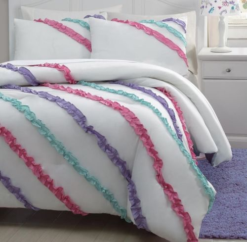 2 piece soft white purple pink aqua blue ruffled comforter - Pink and purple comforter set ...