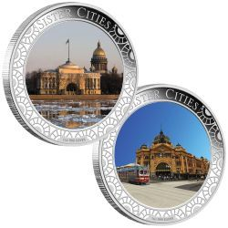 Melbourne ANDA Coin Show Special Sister Cities 2013 1oz Silver Proof Lenticular Coin