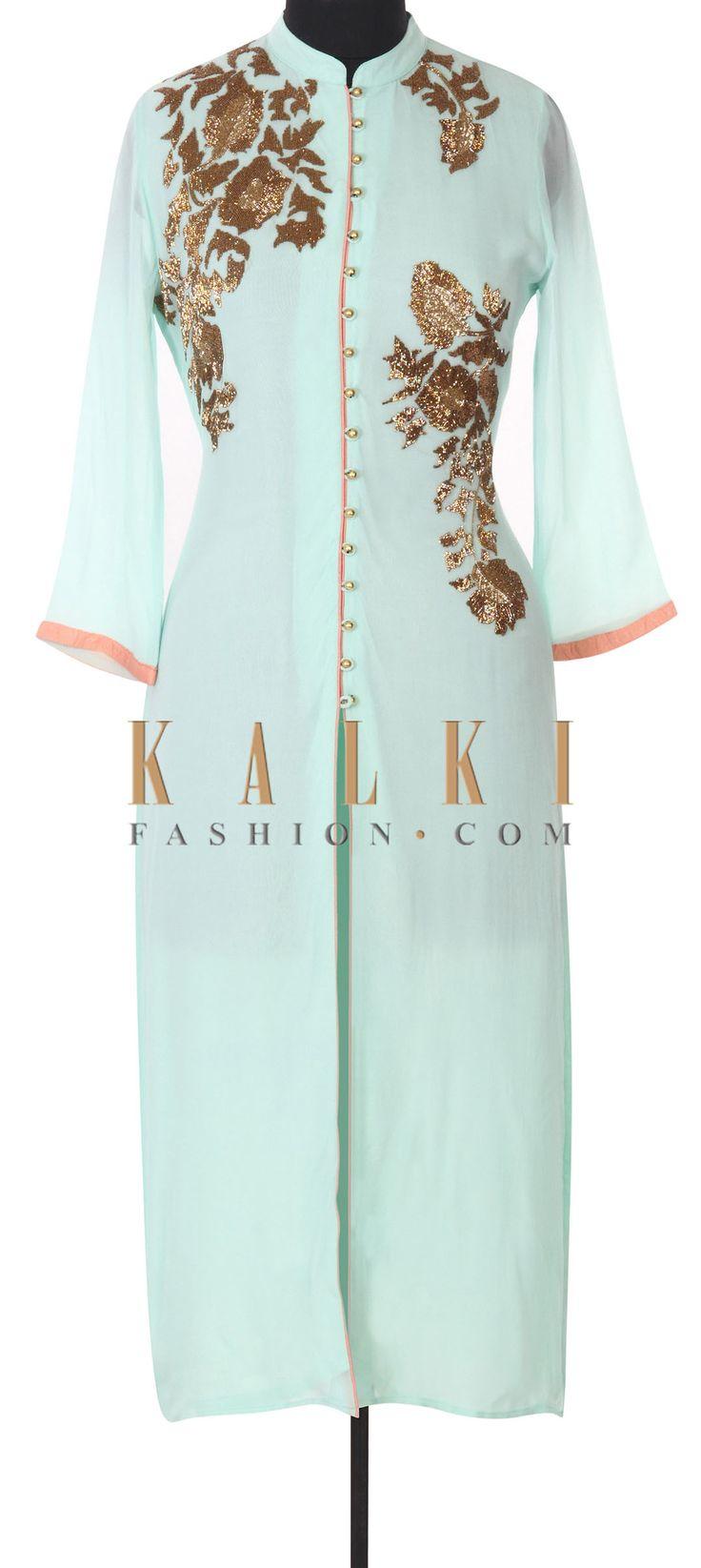 Buy this Mint kurti adorn in kardana embroidery only on Kalki
