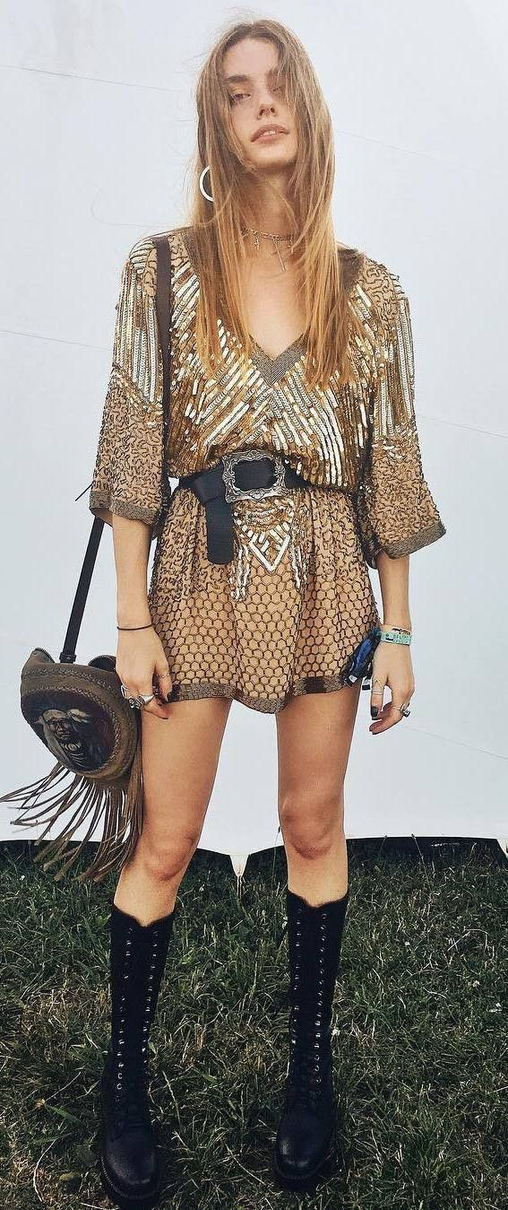 hippie style perfection bag + dress + lace up boots