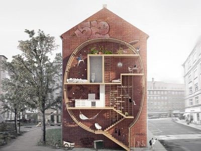 """Love the rock climbing wall, situated right above the bed for clumsy climbers.  """"Skinny micro-housing designs lets you live between buildings"""""""