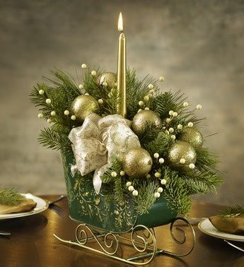 sleigh centerpieces | 800-Flowers.com Holiday Sleigh Centerpiece | Christmas Table Delig ...