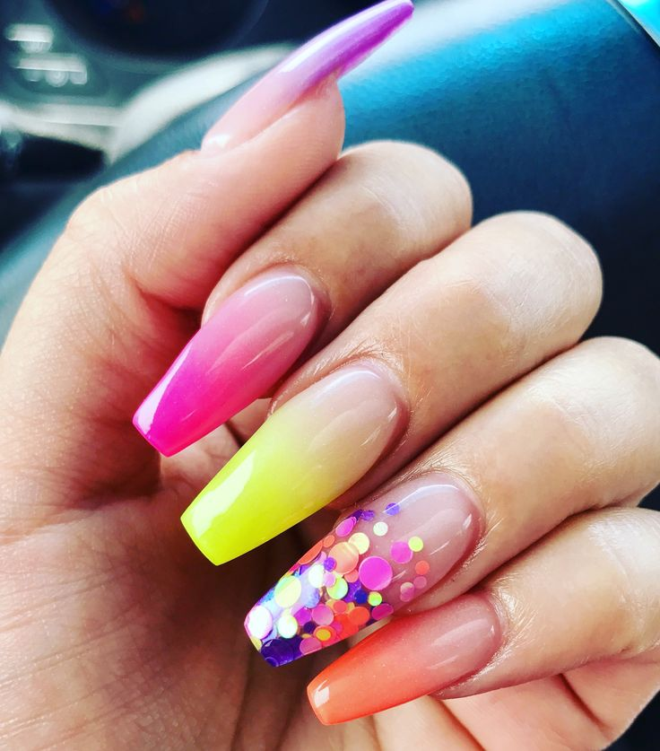 Neon Coffin Shaped Baby Boomer Nails Makeup Hair Amp Nails ️ In 2019 Neon Nails Pretty Nails