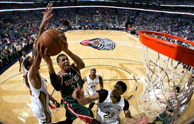 Giannis Antetokounmpo #34 of the Milwaukee Bucks goes up for a shot against the New Orleans Pelicans on March 17, 2015 at the Smoothie King Center in New Orleans, Louisiana. (Photo by Layne Murdoch Jr./NBAE via Getty Images)