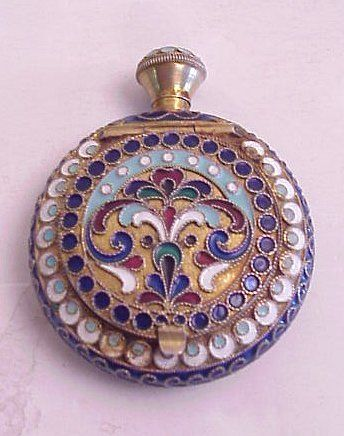 Russian silver Cloisonne enamel perfume bottle