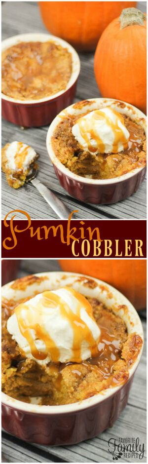 This Pumpkin Cobbler has become our traditional Halloween dessert. It is so easy to throw together and is the perfect pumpkin dish for fall. via @favfamilyrecipz
