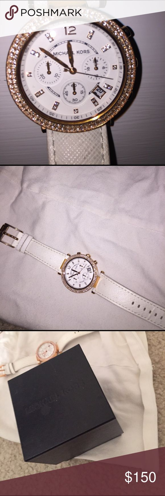 NEW Michael Kors watch Brand new Michael kors leather watch.  White leather with beautiful rose gold metal.  Diamond detailing.  Very unique, trendy and perfect for a trendsetter.  In brand new condition! Comes with extra pieces to change size.  AUTHENTIC Michael Kors Accessories Watches