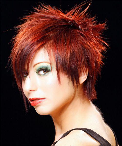 short straight red hairstyle  alternative hair short