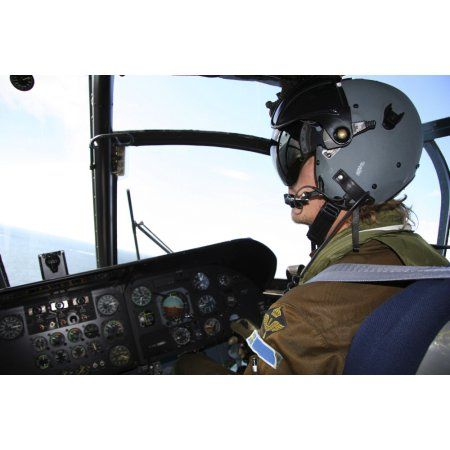 Pilot in the cockpit of a CH-46 Sea Knight helicopter of the Swedish Air Force Canvas Art - Daniel KarlssonStocktrek Images (18 x 12)
