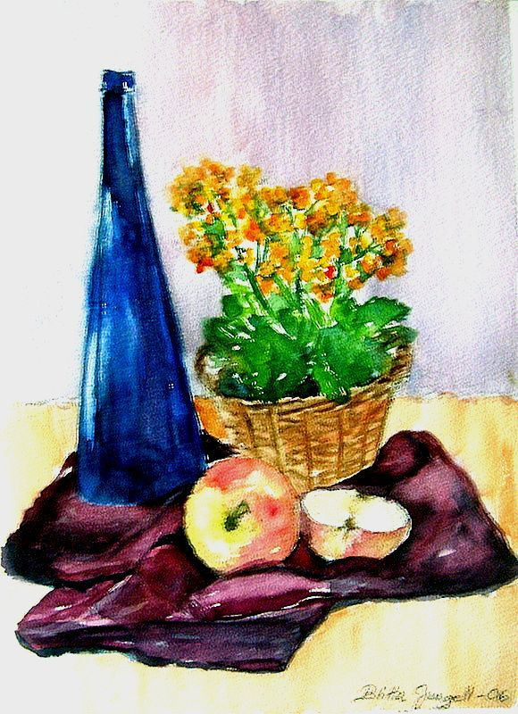 """Still life with a flower basket, a bottle and apples"" Original watercolor painting by Britta Bergström-Jungell."