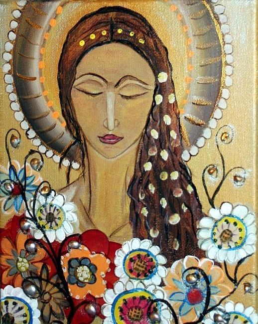 Flowers for my angel original modern abstract religious for Christian mural paintings