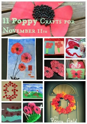11 poppy crafts for Nov 11. Poppy crafts and family ideas for Remembrance Day.