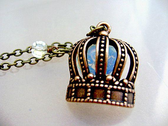 World Tiara Day May 1st Tiara Charm Opal Rhinestone Necklace World by GothicGlassStudio, $21.00