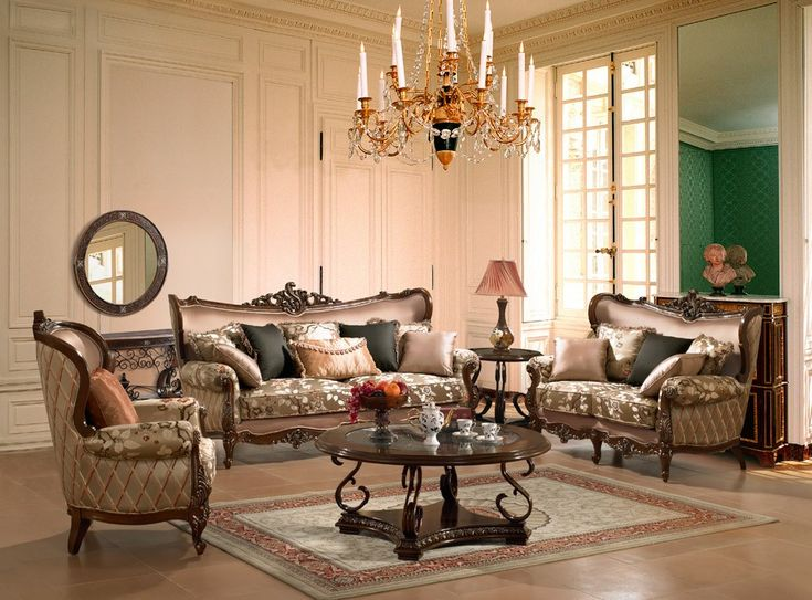 Classic Living Room Designs With Wooden Sofa Set