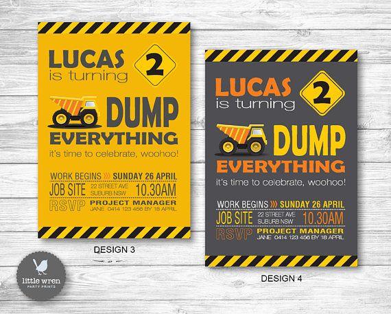 Construction Birthday Party ideas Invitation Dump truck digger