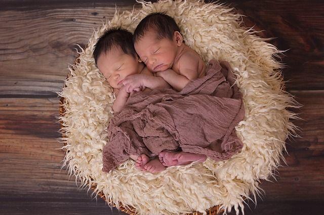 Los Gemelos, Niños, Bebés, Pecho, Recién Nacido