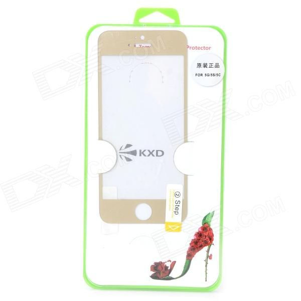 Brand: GLASTO; Model: 9H; Quantity: 1 Piece; Material: Tempered glass; Color: Golden + Transparent; Compatible Models: IPHONE 5S,IPHONE 5; Style: Screen protector; Screen Type: Clear; Screen Features: Scratch Proof,Explosion Proof; Packing List: 1 x Screen protector1 x Cloth1 x Tissue; http://j.mp/1v39pIh