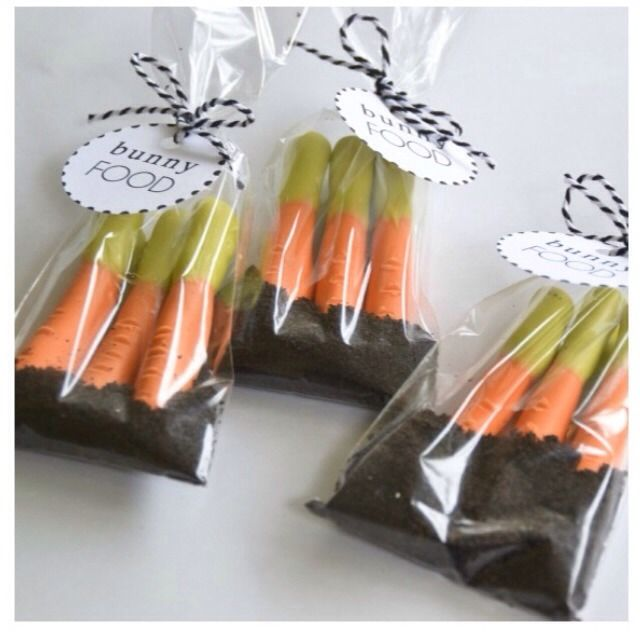 Cute Pretzel Carrots In Oreo Dirt. THIS IS SO ADORABLE! Easy Easter Party Favor Treats!:)